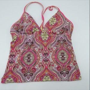 Athleta Tankini Swimwear Tropical Halter Top SizeL